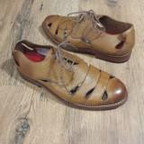 Pantofi dama GRENSON handmade piele integral originali noi 37.5, Camel, Cu talpa joasa