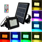 Proiector solar 20 LED-uri RGBW 3W, telecomanda, suport fix, IP65, Lixada
