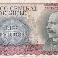 CHILE 10 escudos 1967 VF!!!