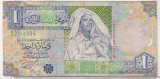 Bnk bn Libia 1 dinar 2002 , uzata