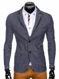 Sacou barbati, bleumarin, casual, slim fit, cu buzunare aplicate, elegant, inchidere doi nasturi - M83