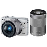 Aparat foto Mirrorless Canon EOS M100, 24.2 MP, White + Obiectiv 15-45 mm + Obiectiv 55-200 mm