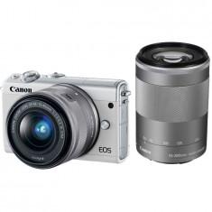 Aparat foto Mirrorless Canon EOS M100, 24.2 MP, White + Obiectiv 15-45 mm + Obiectiv 55-200 mm