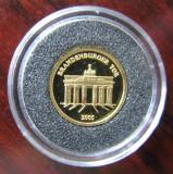 Togo - 1500 Franci  2005  - 1.24 gr Aur .999 - Poarta Brandenburg -  PROOF, Australia si Oceania