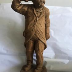 Statuie Mosu betiv cu sticla,sculptata din lemn 52cm