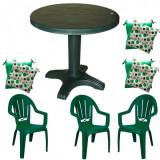 Set mobila gradina masa 80 cm cu 3 scaune Milas culoare verde,3 perne scaun B001109 Raki