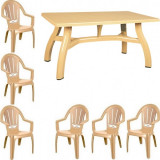 Set mobila gradina King masa 80x140 cm cu 6 scaune Milas culoare bej B001138 Raki