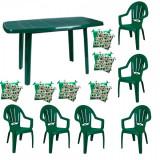 Mobila gradina masa demontabila MUTUM cu 6 scaune Milas culoare verde,6 Pernute scaun B001047 Raki