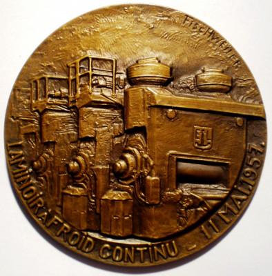 5.036 MEDALIE BELGIA LIEGE METALURGIE LAMINOR 1957 65mm FISCHWEILER bronz foto