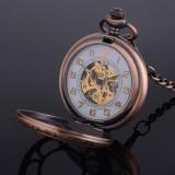 Ceas de buzunar bronz rosu skeleton cu lant Mecanic Vintage