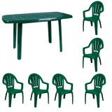 Mobila gradina masa MUTUM cu 6 scaune Milas culoare verde B001006 Raki