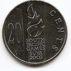 Fiji 20 Centi 2003 South Pacific Games KM-95 UNC !!!