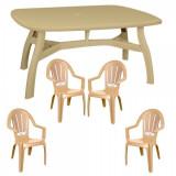 Set mobila gradina King masa 80x125 cm cu 4 scaune Milas culoare bej B0010401 Raki