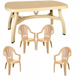 Set mobila gradina King masa 90x150 cm cu 4 scaune Milas culoare bej B001161 Raki