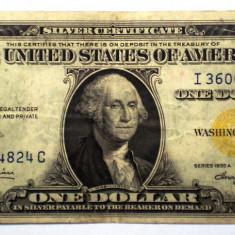 257 USA SUA AFRICA DE NORD SILVER CERTIFICATE 1 ONE DOLLAR 1935 A SR. 824 YELLOW