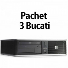 Pachet 3 Bucati - Calculator Second Hand HP DC7900 SFF, Intel Core 2 Duo E7500 2.93GHz, 4GB DDR2, 160GB SATA, DVD-ROM