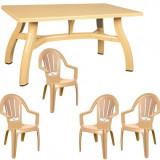 Set mobila gradina King masa 80x140 cm cu 4 scaune Milas culoare bej B001129 Raki
