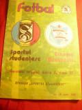 Program Campionat Fotbal Romania -Meci-Sportul Studentesc-Dinamo Bucuresti 1987