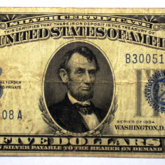 245 USA SUA SILVER CERTIFICATE 5 FIVE DOLLARS 1934 SR. 708