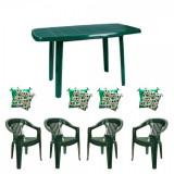 Mobila gradina masa demontabila MUTUM cu 4 scaune Jokei culoare verde,4 Pernute scaun B001044 Raki