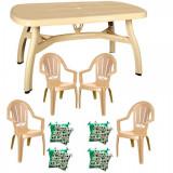 Set mobila gradina King masa 90x150 cm cu 4 scaune Milas culoare bej,4 perne scaun B001162 Raki