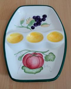 Platou pentru oua / compartimentat - decorativ - portelan Italia