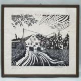 GRAFICA / DESEN / PORTRET - PROFIL DE BARBAT - TABLOU INRAMAT - AUTOR ROMAN 1987, Peisaje, Cerneala, Altul