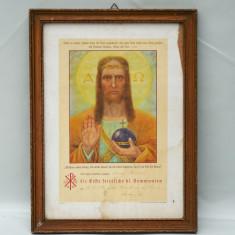 LITOGRAFIE - ICOANA CATOLICA INRAMATA - ISUS CHRISTOS - ANUL 1937 - RAMA DE LEMN