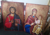 2 Icoane Tablouri pictura pe panza Mantuitorul Isus si Fecioara Maria 80x120cm, Religie, Ulei, Realism