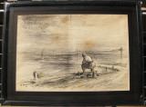 Gheorghe Iliescu 1944 Tablou 2 picturi grafica Peisaj in tus si acuarele 41x54cm, Peisaje, Acuarela, Realism
