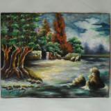 PICTURA VECHE IN ULEI PE PLACAJ - TABLOU PADURE LA TARM - PICTOR LEU ZENO - 1969, Peisaje, Abstract
