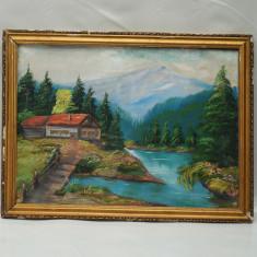 TABLOU MARE - PICTURA VECHE IN ULEI PE PANZA - PEISAJ DE MUNTE CU LAC SI CABANA, Peisaje, Realism