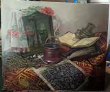 Tablou V. Branzan Natura statica cu Icoana si Obiecte Liturgice 60x70cm, Ulei, Realism
