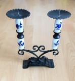 Sfesnic / Suport lumanari - fier forjat + portelan - 2 lumanari