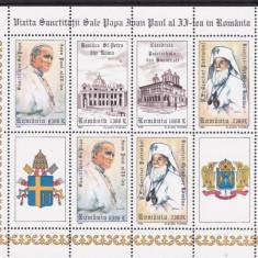 1999 LP 1484 a VIZITA  PAPA IOAN PAUL ALII-lea IN ROMANIA BLOC 6 MARCI+2 VG. MNH