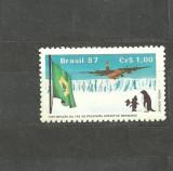 BRAZILIA 1987 - AVION, EXPEDITIE IN ANTARCTICA, PINGUINI, timbru MNH, B30