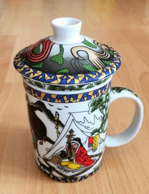 Infuzor / Cana  ceai - cu infuzor + capac - portelan China - motiv oriental foto