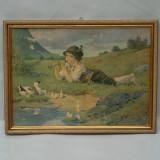 LITOGRAFIE VECHE INRAMATA, BAIAT CU FLUIER SI RATUSTE, REPRODUCERE KLEMENTZ 1919