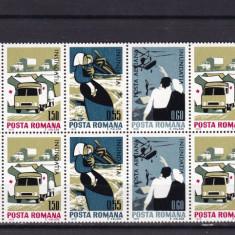 ROMANIA 1970 LP 743   INUNDATIA  I BLOCURI DE 4 TIMBRE MNH
