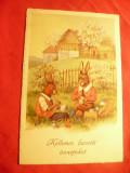 Ilustrata Paste - Fam. de Iepurasi vopsind oua , circ. 1932