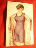 Ilustrata de autor -  Femeie in neglije , semnata ,circulat Szeged -Orsova 1921, Circulata, Printata