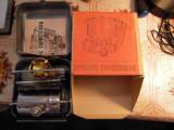Arzator miniatural cu minibutelie de gaz de productie ruseasaca, cutie 16x14 cm, 1 arzator, Inox