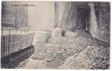 #2208- Romania, Marosujvar, Ocna Mures c.p. circ. 1912: Taierea sarii in mina, Circulata, Fotografie