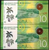 Lot/Set 2 Bancnote Serii Consecutive 10 Cordobas - NICARAGUA   *cod 506 UNC