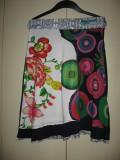 Fusta Desigual cu flori Mar S/ M, Midi, S/M, Multicolor