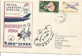 (No1) plic omagial-1965-PRIMUL ZBOR Bucuresti-Roma   Tarom