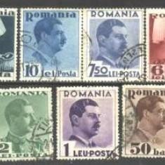"""Romania 1936 - CAROL II CU """"POSTA"""". UZUALE, serie stampilata, CR2"""