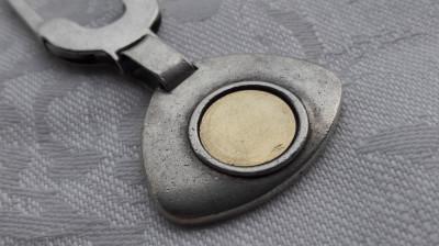 rezervat 10.03=BRELOC argint MASIV cu pastila din AUR 750 splendid ITALIA unicat foto