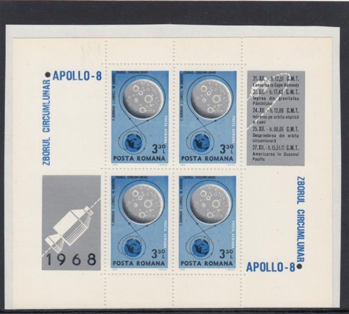 1969  LP 692 a  COSMOS I APOLLO 8  BLOC DE 4 MARCI CU 4 VINIETE DIFERITE  MNH