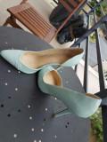 Pantofi stiletto piele Aldo 37, 37 2/3, Turcoaz, Cu toc